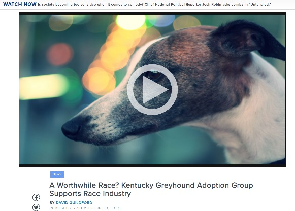 Kentucky Greyhound Adoption Group Supports Race Industry
